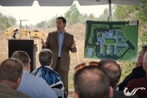Jim Shaheen of SBH addresses local officials at Tuesday's groundbreaking.