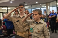 Scouts lead Pledge of Allegiance