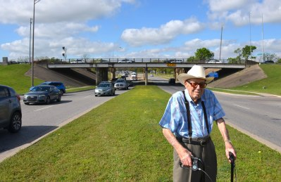 Ret. Gen. Joe Hanover, 99, says the University Drive-Wellborn Road underpass has changed little since he supervised its construction 50 years ago in March. Thanks to Henry Mayo for the photo.