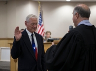 Bob Brick is sowrn into office by Judge Spillane to fill the seat vacated by his wife, Blanche Brick, who served two terms.
