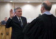 Councilman John Nichols is sworn into office by Municipal Court Judge Ed Spillane in November. Nichols previously served on the council from 2012-2016.
