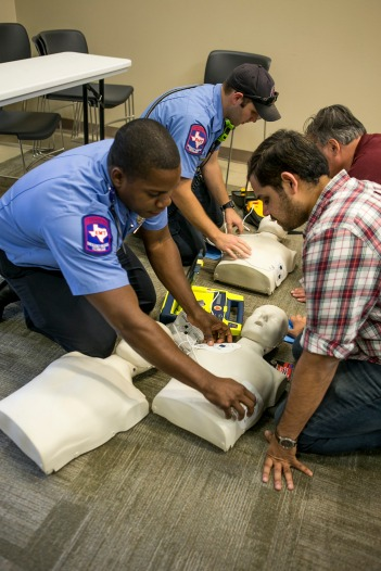 College Station firefighters gave free CPR lessons for six hours at three fire stations on May 25 as part of the World CPR Challenge.