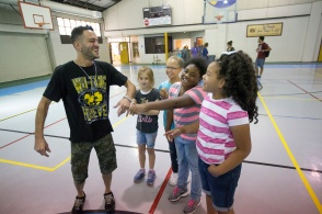 Actor and rapper Gregory J. Qaiyum paid a visit to the Lincoln Recreation Center in early October.