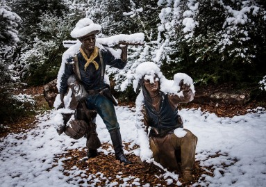 A surprise snowstorm seemed to bring the Indian Wars Memorial statues to life on the Lynn Stuart Pathway in Veterans Park and Athletic Complex.