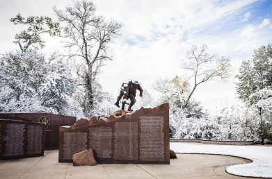 The memorial at Veterans Park Athletic Complex was covered in an elegant layer of snow in early December.