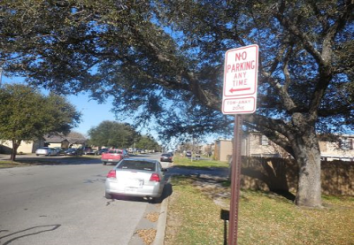 Don't park in areas designated as no parking.