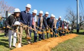 College Station residents, staff and elected officials, past and present, celebrated the groundbreaking of a new city hall building in February. The three-story, 79,000-square-foot structure incorporates elements reminiscent of a train station to reflect the city's history.