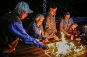 Three generations of this family enjoyed reveled in roasting s'mores at the Christmas at Brazos Valley Tree Farm.