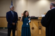 Elizabeth Cunha took the oath on Nov. 10 after winning a run-off election that had been delayed for a year.